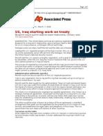 03-07-08 AP-US, Iraq Starting Work on Treaty