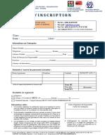 Bulletin d'inscription Formation SSCO