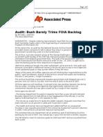 03-16-08 AP-Audit_Bush Barely Trims FOIA Backlog by MICHAEL