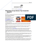 03-24-08 OneWorld-Watchdog Group Names Top Corporate Abusers