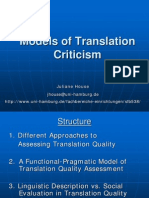 Models of Translation criticismcriticism