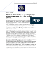 02-28-08 OEN-Obama's General Synod Speech Prompts IRS to Inv