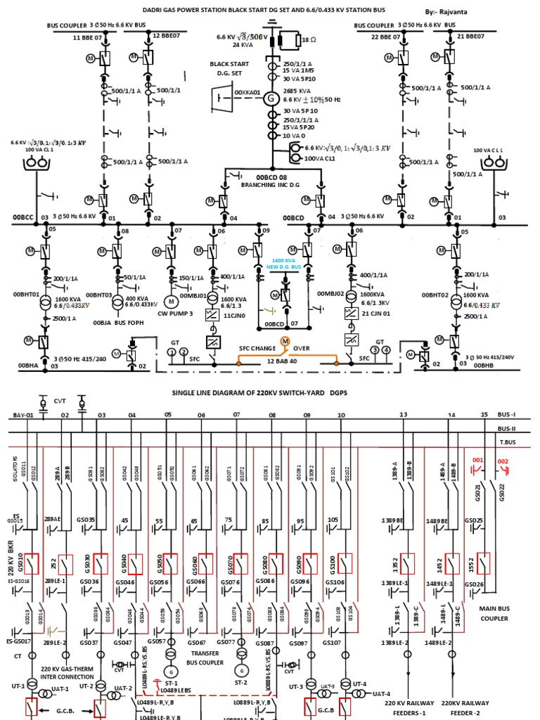 Single line diagram 220kv switchyard for Substation pdf