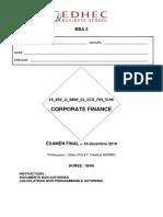 Corporate Finance Final Enonce 2018-2019 - Copie