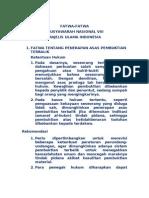 FATWA-FATWA MUSYAWARAH NASIONAL VIII MAJELIS ULAMA INDONESIA