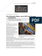 01-31-08 CSM-The Mountain West, Once GOP Turf, Is Now Compet
