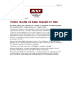 01-31-08 RINF-Turkey Rejects US Bank Request on Iran