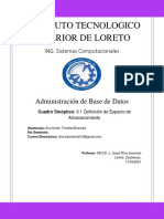 3,1 Definicion de Espacio de Almacenamiento, Administracion de Base de Datos, Ana Karen Trinidad Buendia