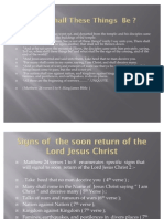 Signs of the Soon Return of the Lord Jesus Christ