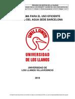 PROGRAMA PARA EL USO EFICIENTE Y AHORRO DEL AGUA SEDE BARCELONA