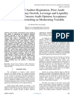 The Effect of Auditor Reputation, Prior Audit Opinion, Company Growth, Leverage and Liquidity on the Going Concern Audit Opinion Acceptance With Audit Switching as Moderating Variable