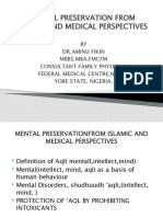 MENTAL PRESERVATION FROM ISLAMIC AND MEDICAL PERSPECTIVE