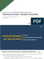 Caderno de Parâmetros de Custos - PDE 2030