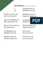 Canto Dei Battipali (Testo)