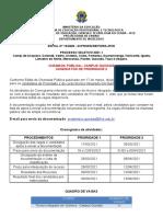 Vagas e Lista de candidatos Prioridade 2 - CHAMADA PÚBLICA - Quixadá