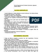 Álcool isopropílico e óleo mineral isolante