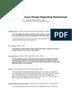 Quotations of Famous People Regarding Muhammad