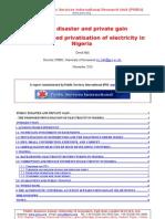 Electricity problems in Nigeria