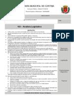 Ufpr 2020 Camara de Curitiba Pr Analista Legislativo Prova