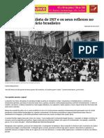BUONICORE, Augusto. A greve geral paulista de 1917 e os seus reflexos no movimento operário brasileiro