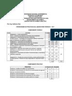 Porcentajes de las evaluaciones, actividades y prácticas