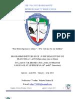 Programme d'Études pour le deuxième cours de français (jan à mai '11) - Syllabus for Second Course of French Language (Jan to May '11) - Final