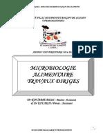 MICROBIOLOGIE TRAVAUX DIRIGES - ANALYSE DES ALIMENTS-1