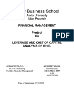 Project on Financial Management ( Cost of Captial & Leverage)