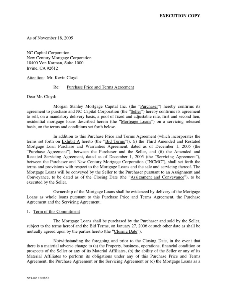 MORGAN STANLEY LETTER TO NEW CENTURY CAPITAL CORPORATION