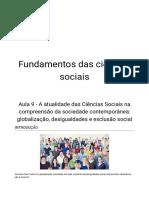 Aula 09 - Globalização, Desigualdades e Exclusão Social