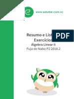 Álgebra Linear II Resumo e Exercícios Fuja do Nabo P2 2018.1