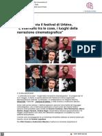 Cinema, al via il Festival di Urbino - Vivere Urbino.it, 6 maggio 2021