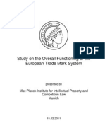 2011-02-15 Study on the Overall Functioning of the European Trade Mark System Max Planck Institute for Intellectual Property and Competition Law