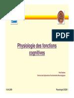 Physiologie des Fonctions Cognitives