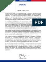 Comunicado Al Pueblo De Colombia