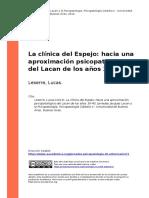 Leserre, Lucas (2014). La clinica del Espejo hacia una aproximacion psicopatologica del Lacan de los anos 30-40