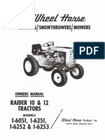 WheelHorse Raider 10 and raider 12 owners manual for models 1-6051 1-6251-1-6252-1-6253