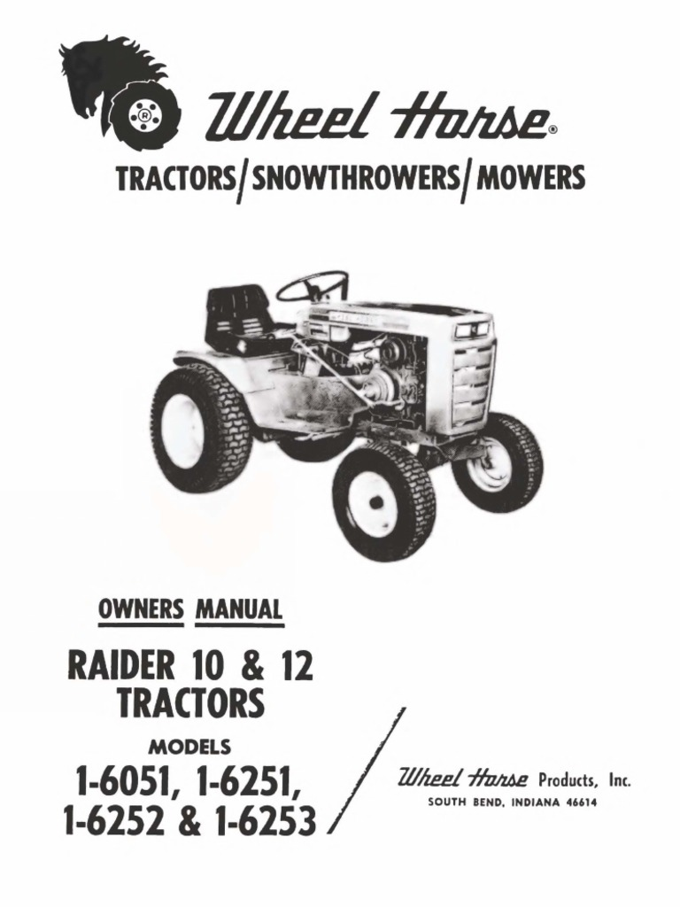 WheelHorse Raider 10 and raider 12 owners manual for
