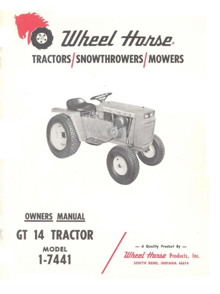 wheelhorse gt14 owners manual 1-7441   tractor   transmission (mechanics)