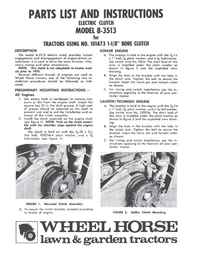 Wheelhorse Electric Clutch Conversion For Post 1970 Tractors 8 3513 2600 Hp Kohler Engine Schematics Tractor Electrical Connector