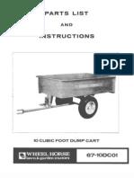WheelHorse 10 cubic foot dump cart manual 67-10DC01