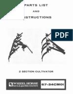 WheelHorse two section cultivator parts list 67-34CM01