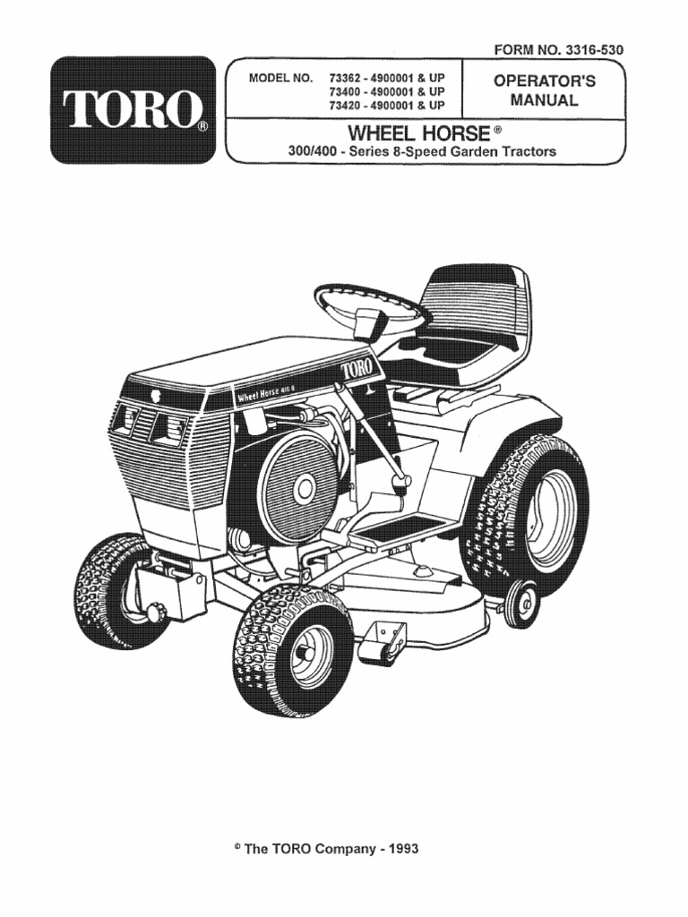 1993 WheelHorse 312, 314, 416 owners manual for models 73362, 73400, 73420  | Tractor | Carburetor