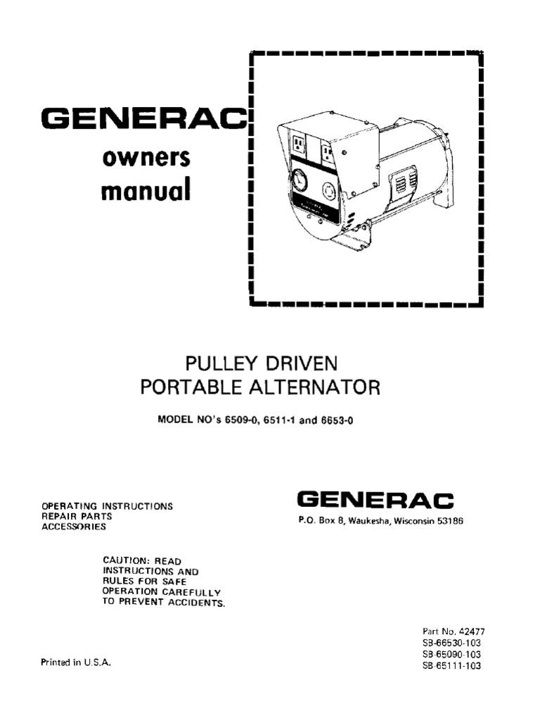Wheel Horse Pulley driven Generac portable generator