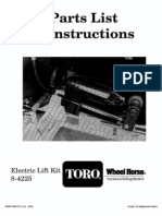 Toro WheelHorse Electric Lift Kit owners manual