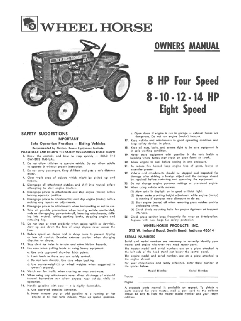 wheelhorse 1973 8 10 12 14 8 speed owners manual clutch rh scribd com toro wheel horse 8-25 owners manual toro wheel horse 520h service manual