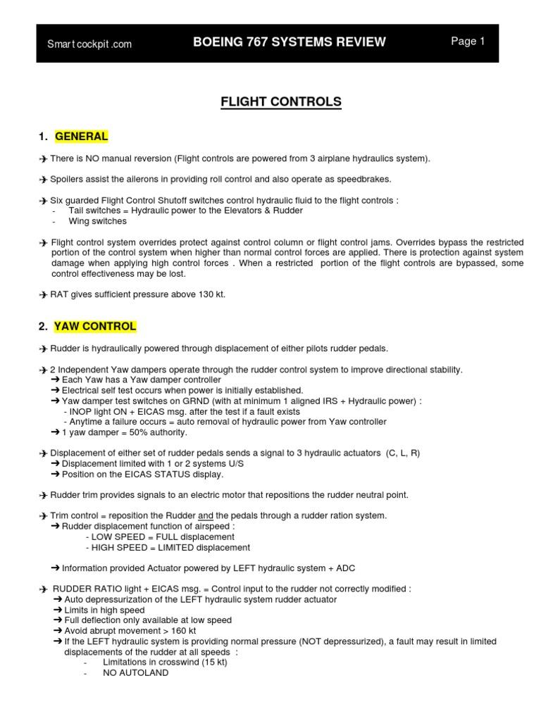 B767_Flight_Controls   Aircraft Flight Control System   Flight Control  Surfaces