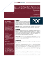 Application and Integration of Principles and Uses of International Trade in Regulatory Systems