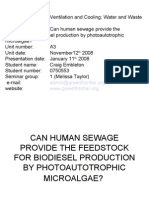 Presentation Can Human Sewage Provide the Feedstock for Biodiesel Production by Photoautotrophic Micro Algae