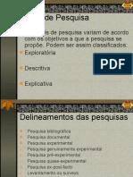 8 - Metodologia do Trabalho Científico e Orientação de TCC - TIPOS DE PESQUISAS